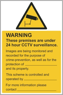 Security & CCTV signs catalogue available for download or purchase at CSS-Signs.ie