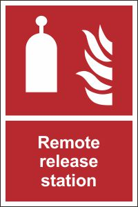 Remote Release Station Safety Sign