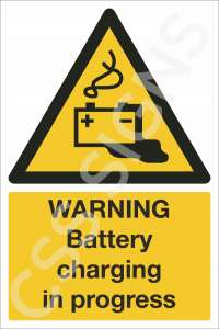 Warning Battery Charging in Progress Safety Sign