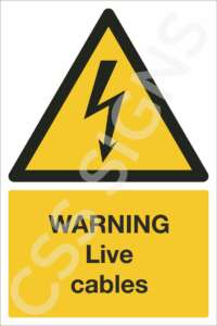 warning live cables safety sign