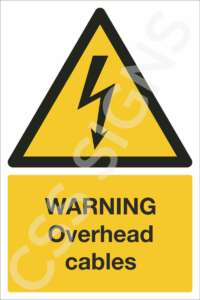 warning overhead cables safety sign