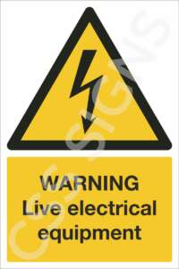 warning live electrical equipment safety sign