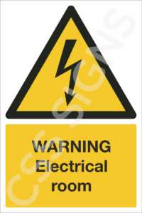 warning electrical room safety sign