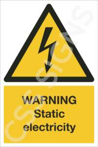 warning static electricity safety sign