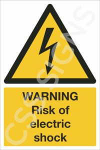 warning risk of electric shock safety sign