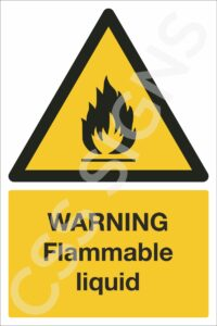 warning flammable liquid safety sign