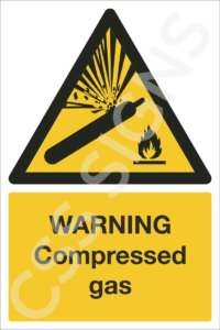 warning compressed gas safety sign