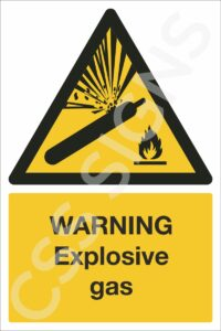 warning explosive gas safety sign