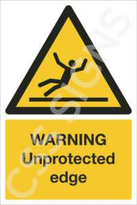 Warning Unprotected Edge Safety Sign