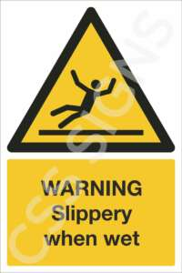Warning Slippery When Wet Safety Sign