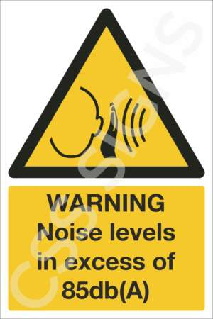 Warning Noise Levels in Excess of 85dB(A) Sign