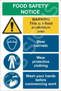 Food Production Safety Notice Sign