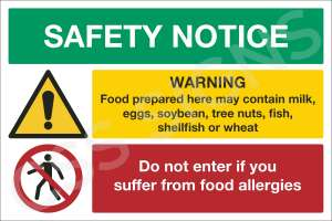 Food Allergy Safety Notice Safety Sign