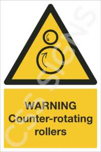 Warning Counter-Rotating Rollers Safety Sign