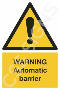 Warning Automatic Barrier Safety Sign