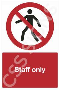 Staff Only Safety Sign