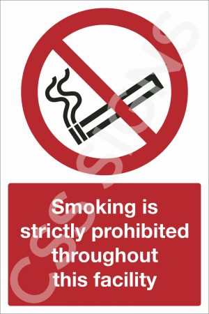 Smoking is Prohibited Throughout this Facility Sign