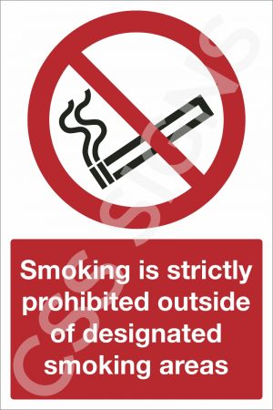 Smoking is Prohibited Outside of Designated Smoking Areas Sign