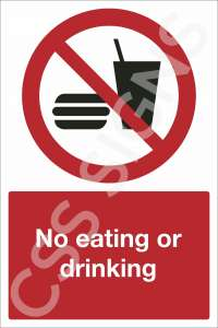 No Eating Or Drinking Safety Sign