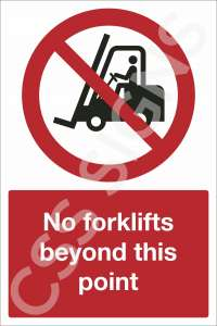 No Forklifts Beyond This Point Safety Sign