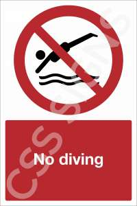 No Diving Safety Sign