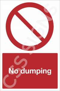 No Dumping Safety Sign