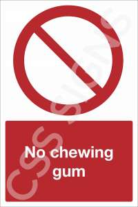 No Chewing Gum Safety Sign