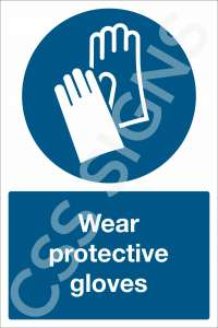 Wear Protective Glove Safety Sign