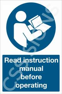 Read Instruction Manual Before Operating Safety Sign