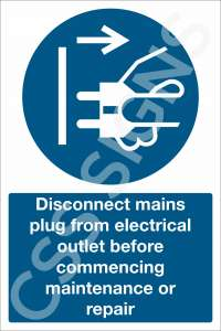 Disconnect Mains Plug Before Maintenance Safety Sign