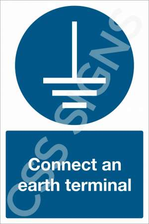 Connect an Earth Terminal Safety Sign