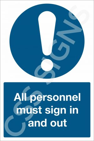 All Personnel Must Sign In and Out Sign