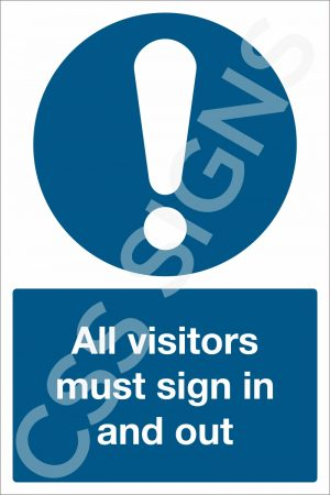 All Visitors Must Sign In and Out Sign