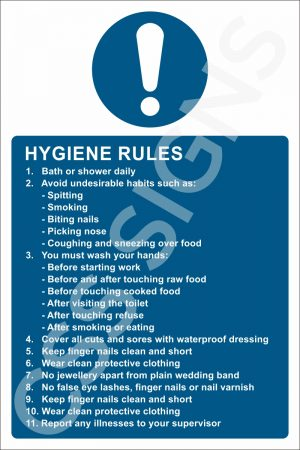 Hygiene Rules Sign