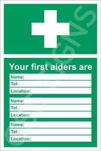 First Aiders Safety Sign