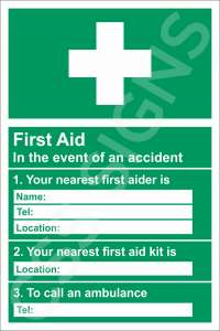 First Aid Information Safety Sign