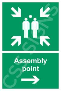 Assembly Point Right Safety Sign