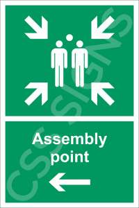 Assembly Point Left Safety Sign