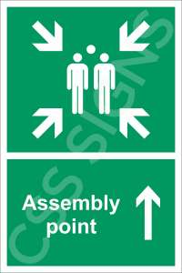 Assembly Point Straight Ahead Safety Sign