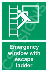 Emergency Window with Escape Ladder Safety Sign