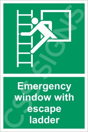 Emergency Window with Escape Ladder Sign