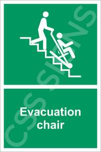 Evacuation Chair Safety Sign