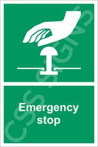 Emergency Stop Safety Sign