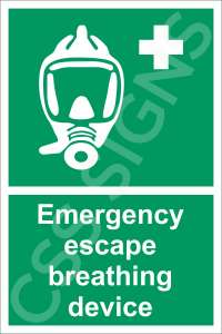 Emergency Escape Breathing Device Safety Sign