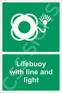 Lifebuoy with Light and Line Safety Sign