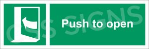 Push Left to Open Sign