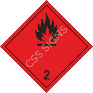 Class 2 Flammable Gas ADR Hazard Safety Label