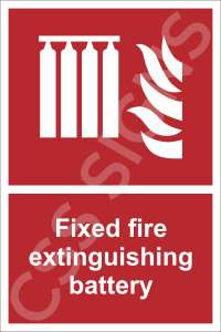 Fixed Fire Extinguishing Battery Safety Sign