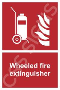 Wheeled Fire Extinguisher Safety Sign