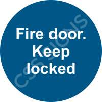 Fire Door, Keep Locked Safety Sign